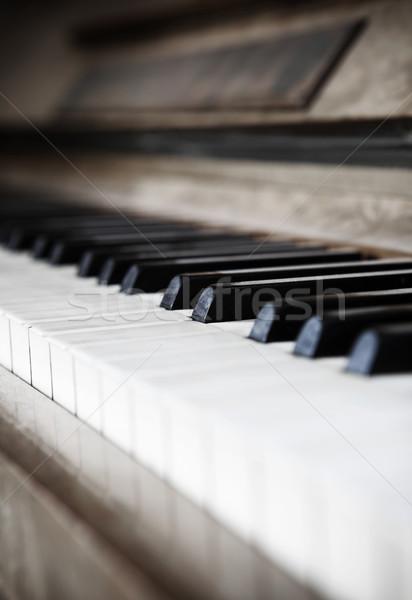 Worn piano keys with short focal depth Stock photo © gemenacom