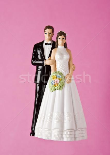 Düğün heykelcik çift kek pembe plastik Stok fotoğraf © gemenacom