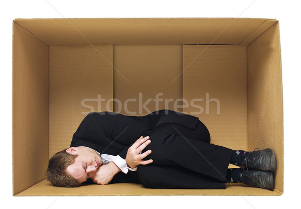 Sleeping in a cardboard box Stock photo © gemenacom