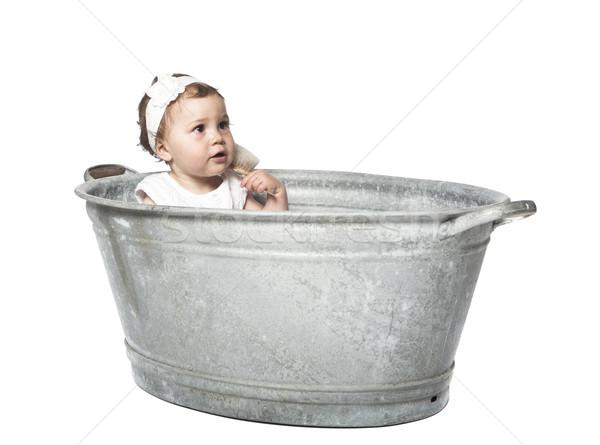 Baby in a bucket Stock photo © gemenacom