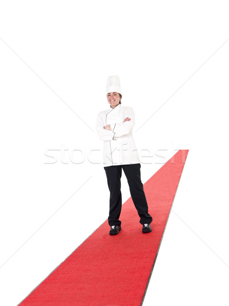 Chef piedi tappeto rosso bianco sorridere celebrazione Foto d'archivio © gemenacom
