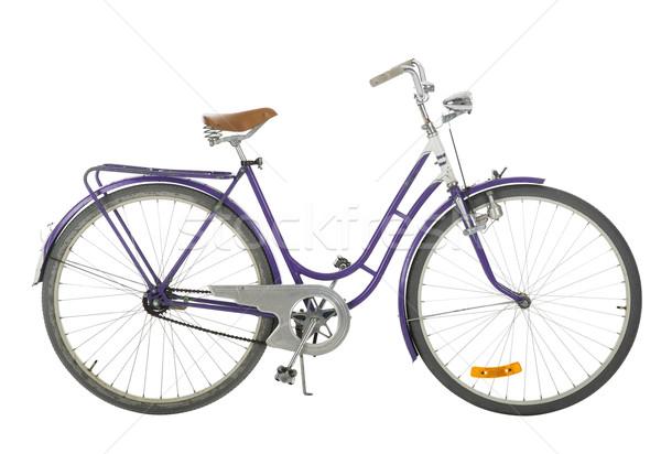 Paars ouderwets fiets geïsoleerd witte zwarte Stockfoto © gemenacom