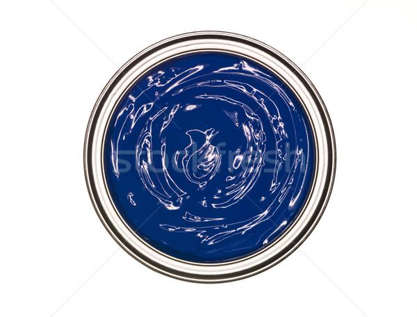 Kék festékes flakon fölött izolált fehér konzerv Stock fotó © gemenacom