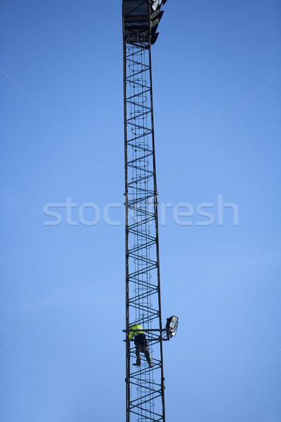 Veszélyes munka kék ég ipar dolgozik sziluett Stock fotó © gemenacom