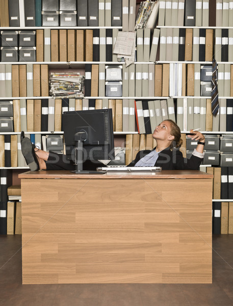 Smoking Businesswoman Stock photo © gemenacom