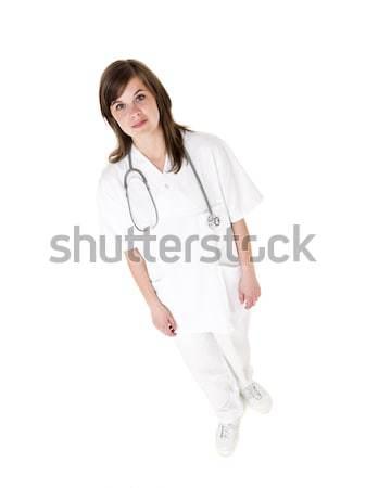 女性 看護 孤立した 白 白人 白地 ストックフォト © gemenacom