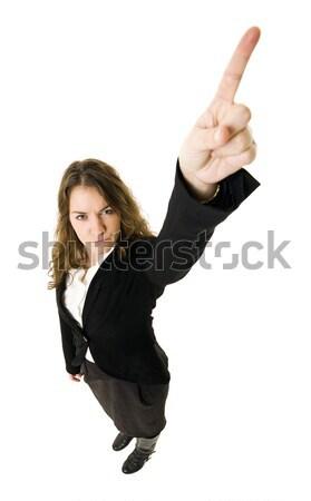 указывая женщину изолированный белый бизнеса женщины Сток-фото © gemenacom