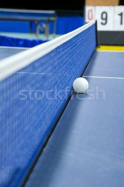 Tenis stołowy martwa natura selektywne focus sportu niebieski ciemne Zdjęcia stock © gemenacom