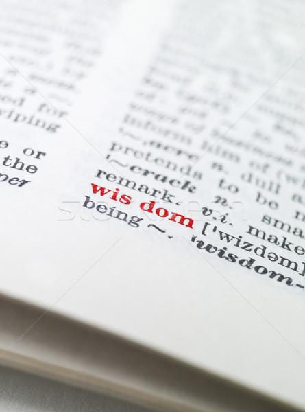 Palavra sabedoria dicionário papel livro vermelho Foto stock © gemenacom