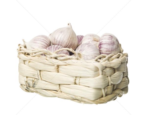 Kosár fokhagyma izolált fehér piac főzés Stock fotó © gemenacom