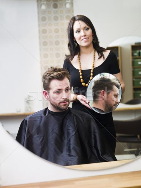 Fodrászat helyzet férfi terv férfiak dolgozik Stock fotó © gemenacom