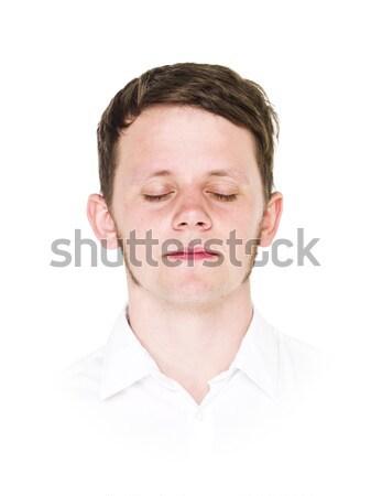 若い男 肖像 孤立した 白 男性 楽しい ストックフォト © gemenacom