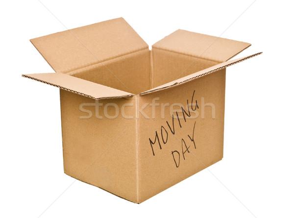 Caja de cartón día de la mudanza aislado blanco cuadro paquete Foto stock © gemenacom