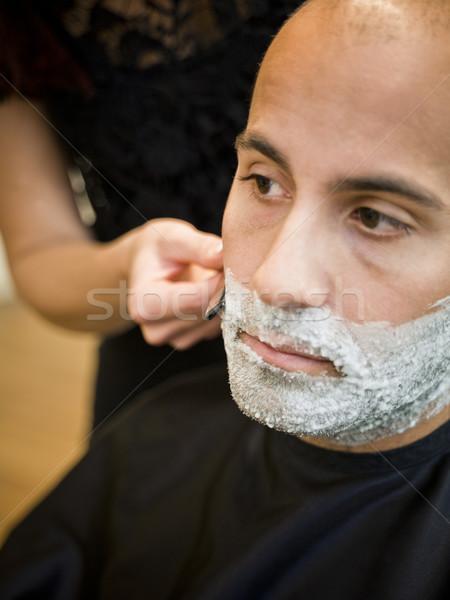 Foto stock: Situação · salão · de · cabeleireiro · projeto · homens · trabalhando
