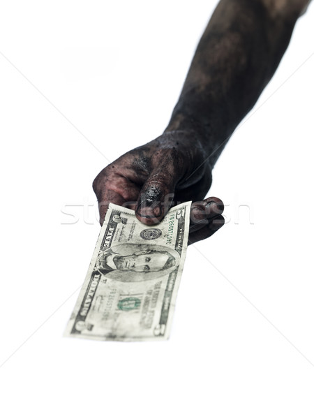 Dirty hand and a five dollar bank-note Stock photo © gemenacom