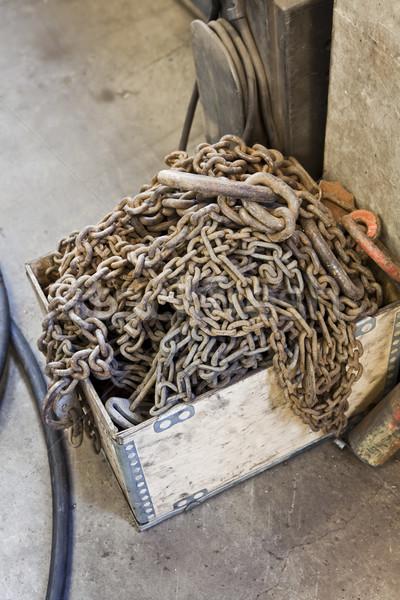 Arrugginito catene industriali ambiente legno abstract Foto d'archivio © gemenacom
