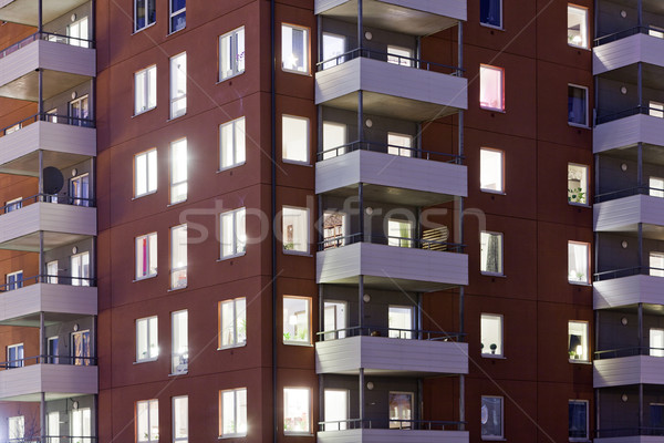 Nuit temps full frame maison construction Photo stock © gemenacom