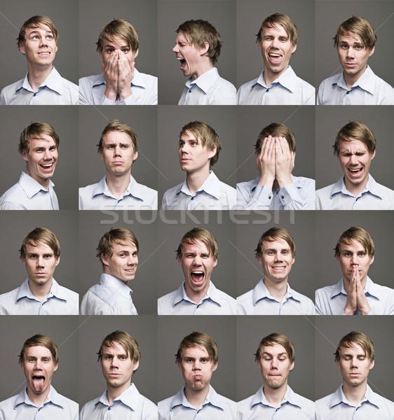 Twintig portretten man verschillend uitdrukkingen glimlach Stockfoto © gemenacom