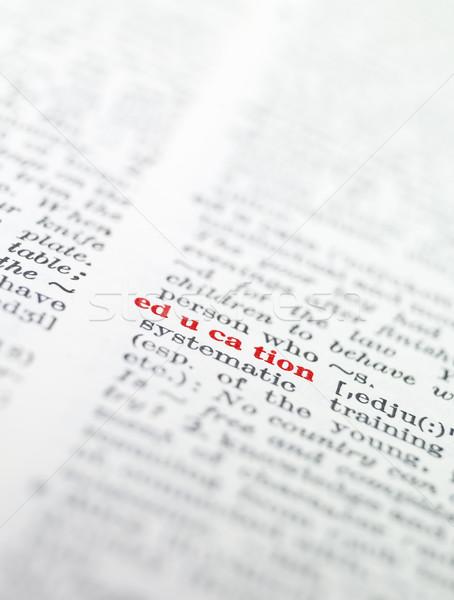 Palavra educação dicionário papel livro vermelho Foto stock © gemenacom