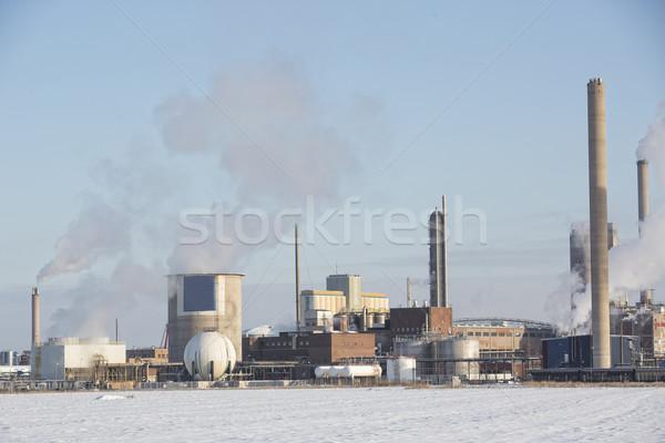 Vegyipar épület tél tájkép nap technológia Stock fotó © gemenacom