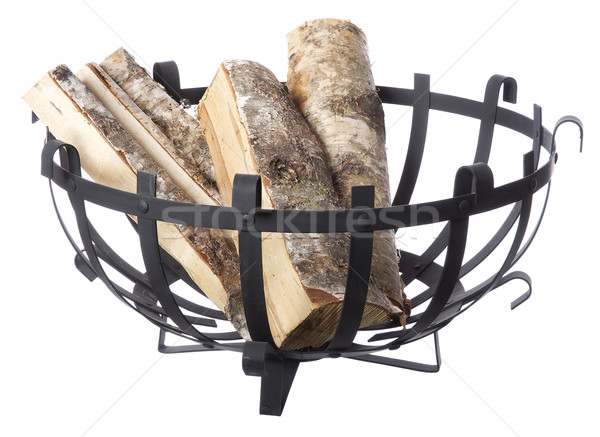 Brandhout mand geïsoleerd witte natuur afstandsbediening Stockfoto © gemenacom