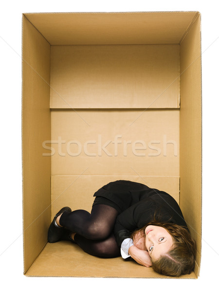 Woman in a Carboard Box Stock photo © gemenacom