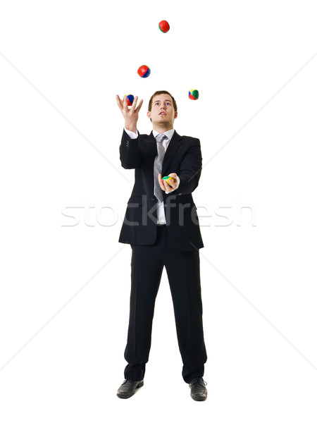 Jongleren man zakenman geïsoleerd witte mannen Stockfoto © gemenacom