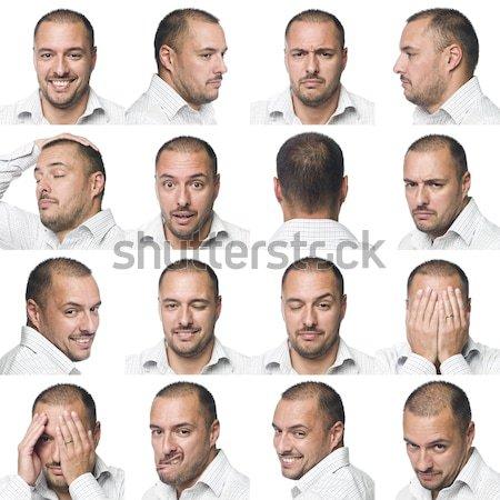 Férfi fej izolált fehér portré hideg Stock fotó © gemenacom