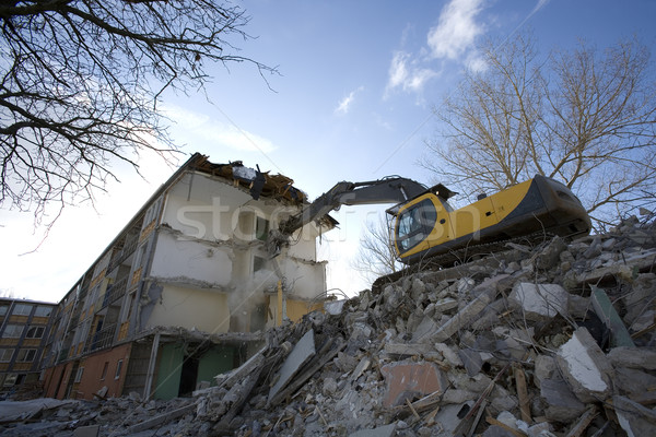 дома уничтожения вниз квартиру город строительство Сток-фото © gemenacom