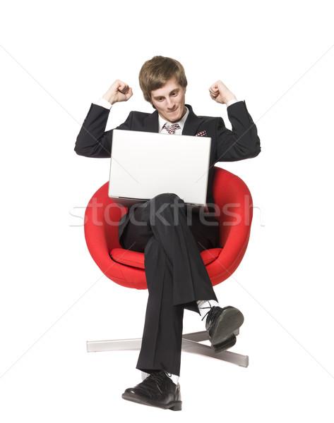 Laptop Computer Geld Mann glücklich Stock foto © gemenacom
