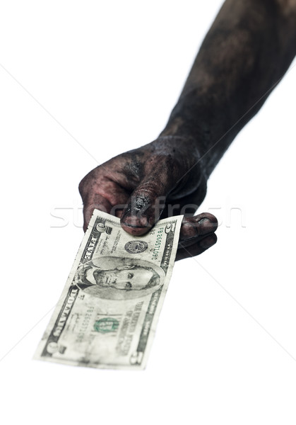 Hand holding a five dollar bank-note Stock photo © gemenacom