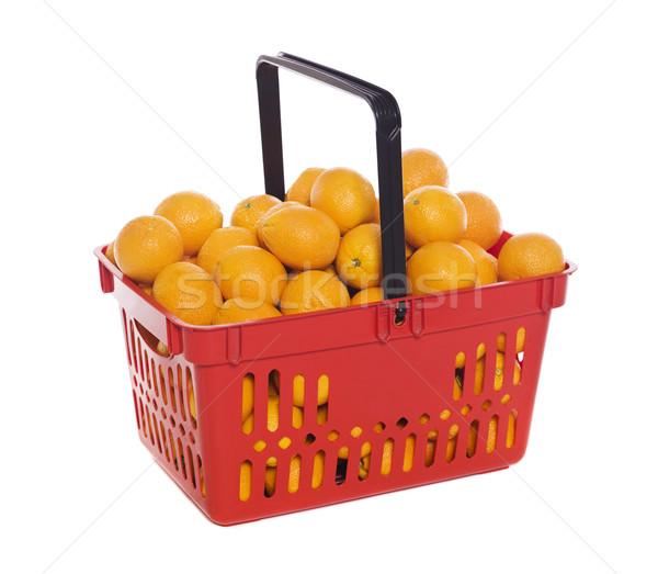 Bevásárlókosár narancsok izolált fehér üzlet gyümölcs Stock fotó © gemenacom