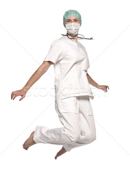 ストックフォト: ジャンプ · 看護 · 聴診器 · 医師 · 女性 · 幸せ