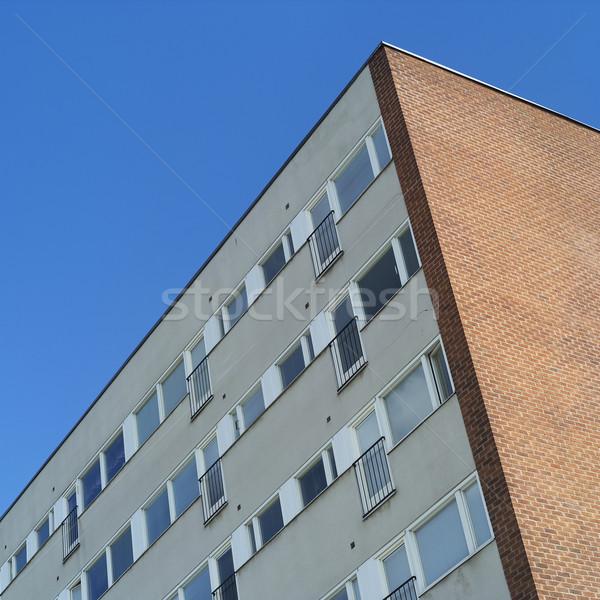Flatgebouw blauwe hemel stad Blauw cool muur Stockfoto © gemenacom