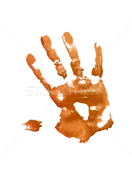 Orange handprint on white Stock photo © gemenacom