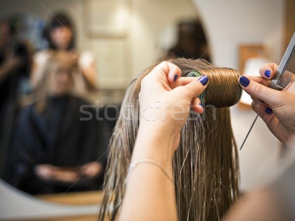 Haarverzorging situatie kapsalon glimlach stoel Stockfoto © gemenacom