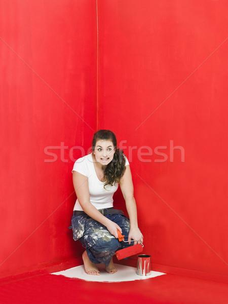 絵画 問題 少女 描いた 家 赤 ストックフォト © gemenacom