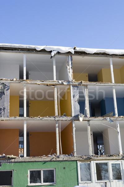 Sérült lakás napos idő tél építészet kék ég Stock fotó © gemenacom
