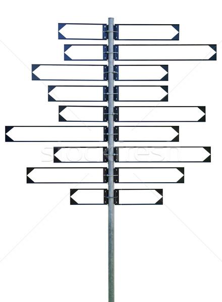 указатель восемнадцати Стрелки девять знак дорожный знак Сток-фото © gemenacom