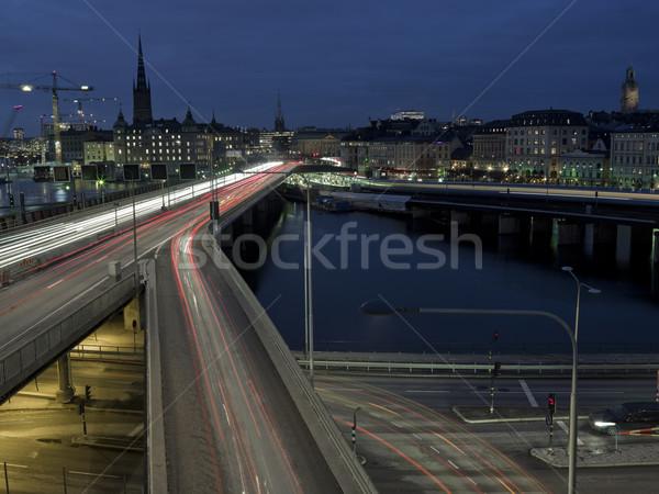 Snelweg shot lange blootstelling tijd skyline auto Stockfoto © gemenacom