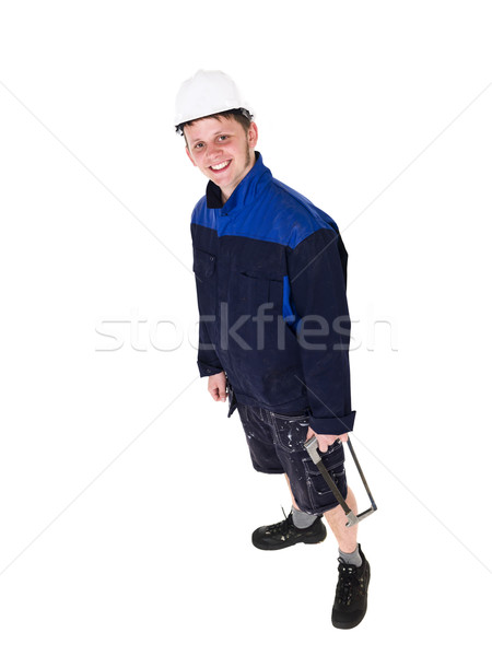 Erkek marangoz yalıtılmış beyaz gülümseme mutlu Stok fotoğraf © gemenacom
