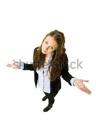 ártatlan nő magasról fotózva kilátás portré póló Stock fotó © gemenacom