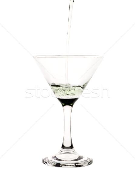 Zöld folyadék áramló martinis pohár ital koktél Stock fotó © gemenacom