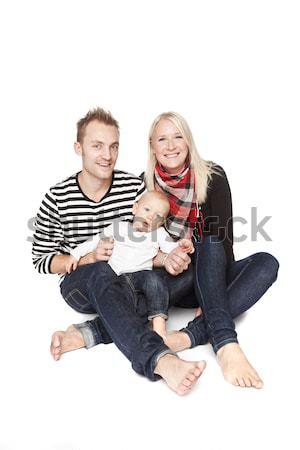 Boldog család portré izolált fehér baba boldog Stock fotó © gemenacom