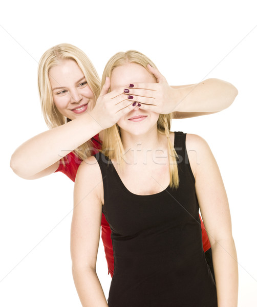 Meisjes spelen kiekeboe geïsoleerd witte liefde Stockfoto © gemenacom