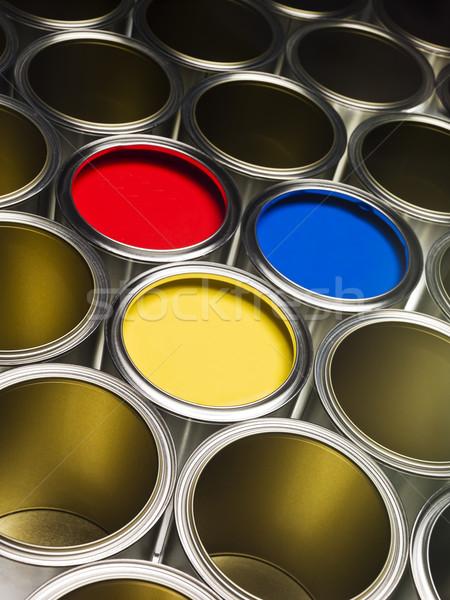 Full frame festék piros citromsárga kék tárgy Stock fotó © gemenacom