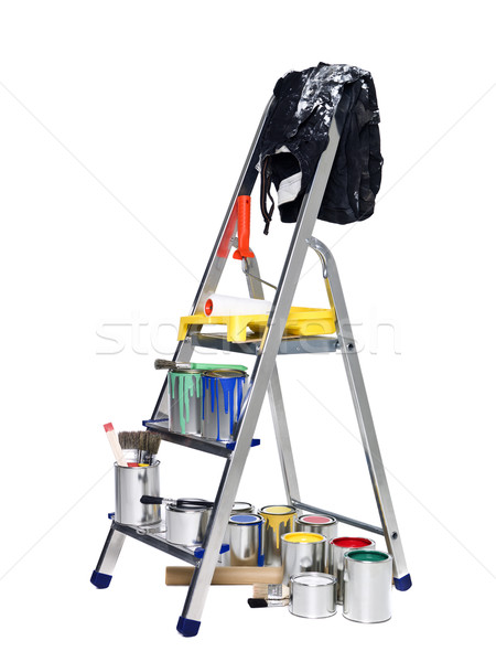 Stepladder with paint cans and brushes Stock photo © gemenacom