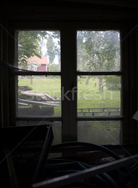 Elnyűtt ablak nyár kilátás keret Stock fotó © gemenacom