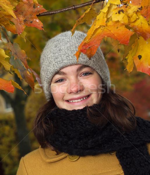 ősz lány fiatal lány portré környezet fa Stock fotó © gemenacom