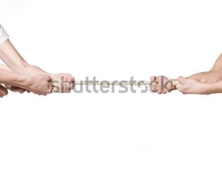 Hombres músculo cuerda juego fondo blanco batalla Foto stock © gemenacom